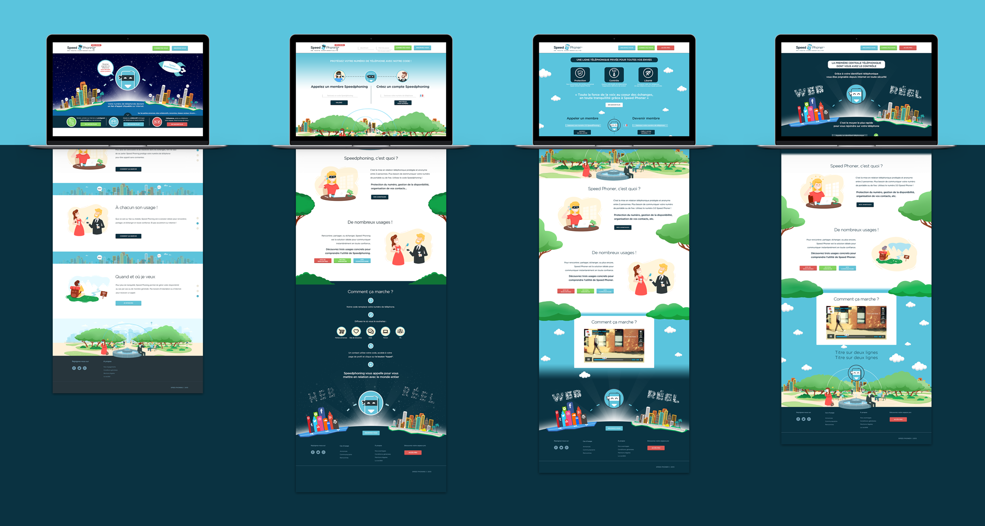 Les différentes itérations de la homepage de Speed Phoner
