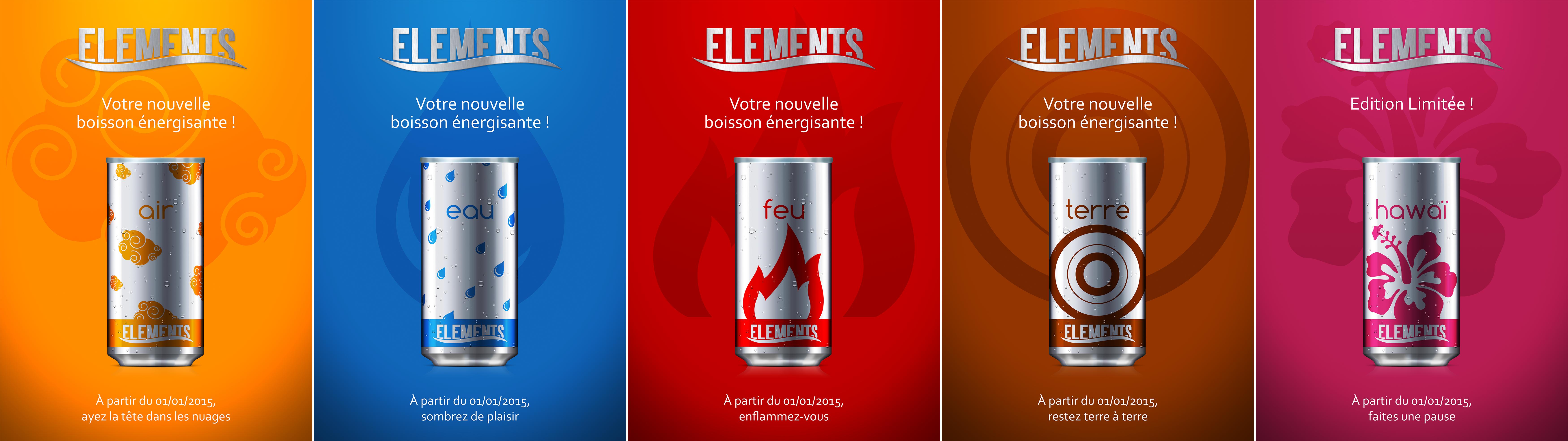 Ensemble des affiches exposant la gamme d'Elements ainsi que l'édition limitée