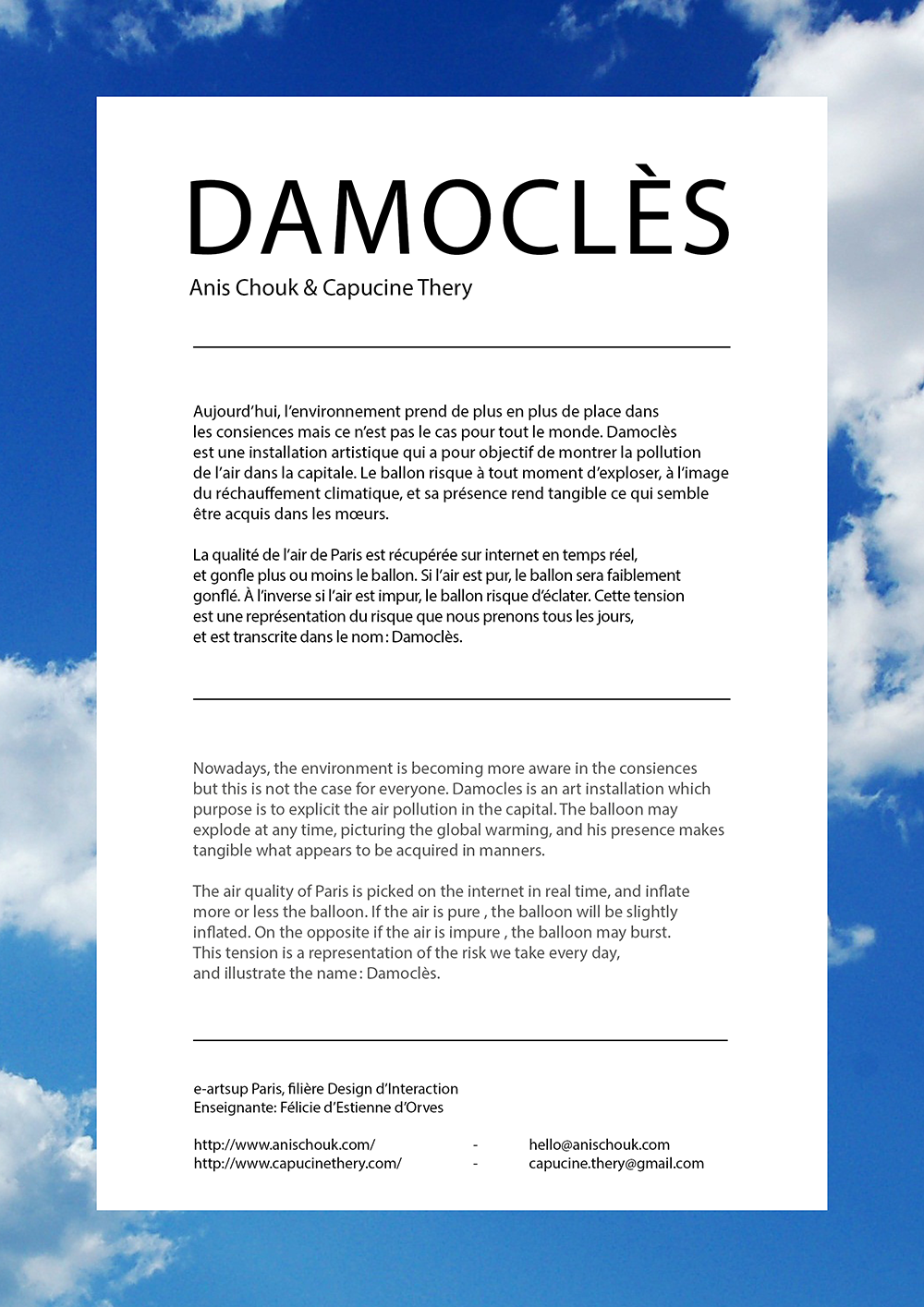 Cartel de l'installation Damoclès