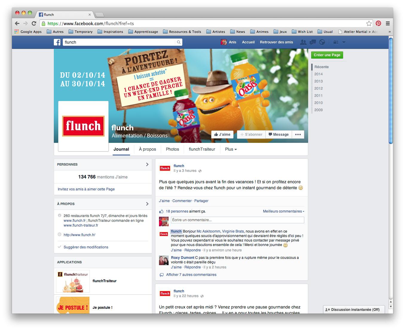 L'événement sur la page facebook de Flunch